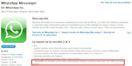 WhatsApp añade cifrado al envío de mensajes en su nueva versión para iOS