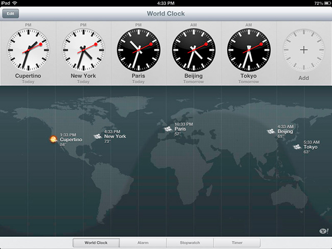 Clock para iPad en iOS 6