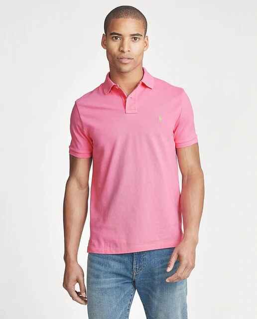 Polo de hombre slim rosa con manga corta