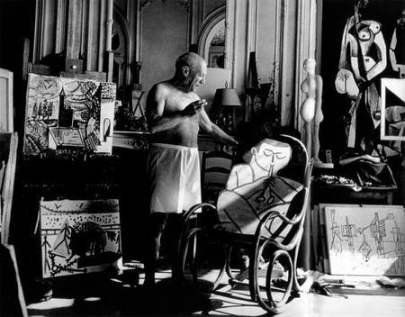 Picasso, Villa Californie, Cannes 1957, fototgafía de Andre Villers