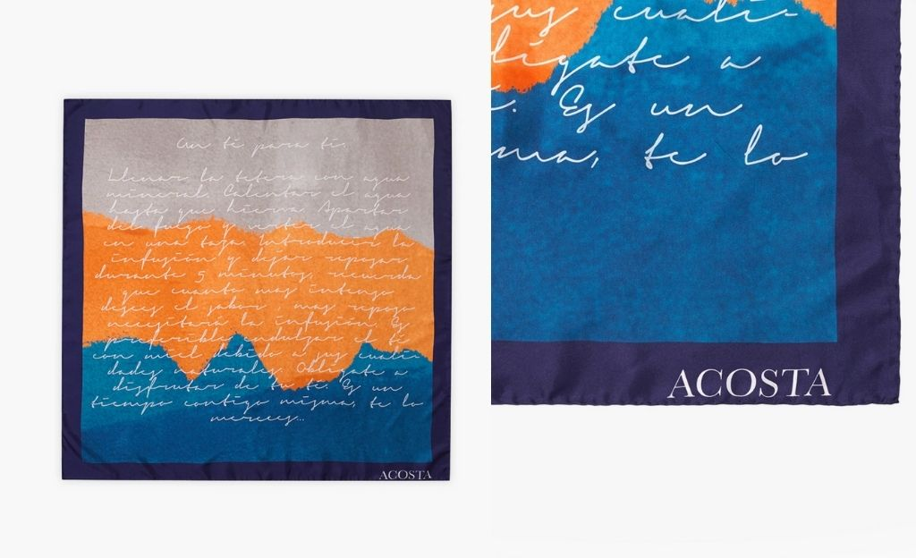 Pañuelo Acosta de seda en tonos combinados