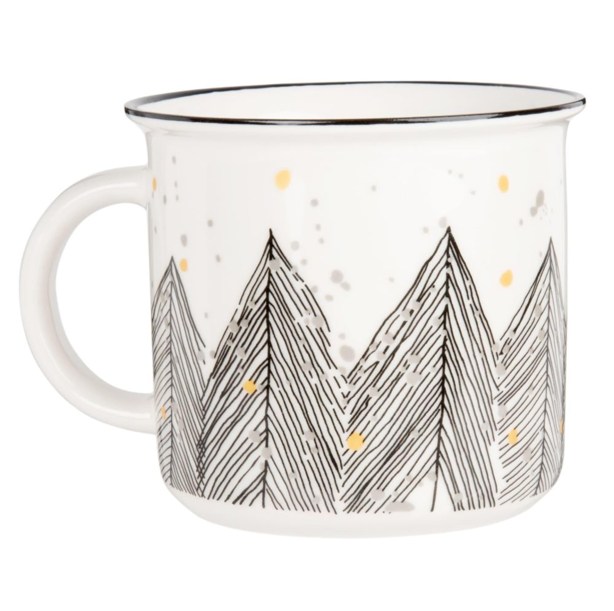Taza de loza blanca con estampado de árboles - Lote de 2