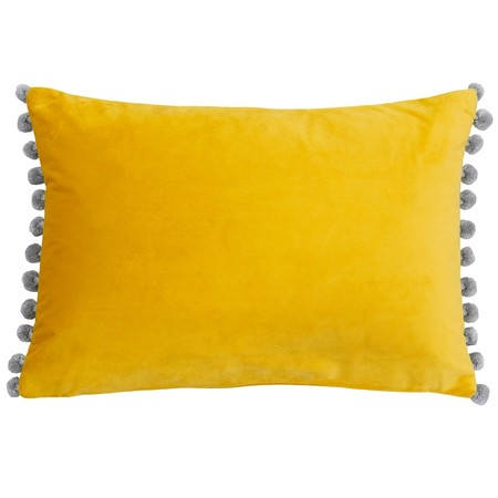 Dove Grey And Yellow Velvet Pom Poms Cushion Cut Out