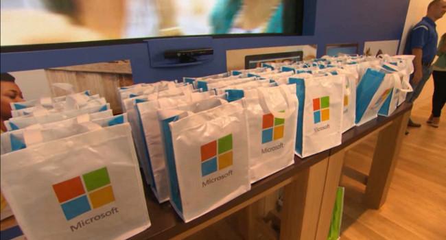 Regalos en una tienda Microsoft