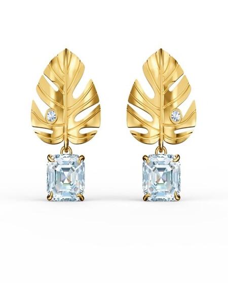 Pendientes Swarovski Tropical Leaf Con Forma De Hoja Con Bano Tono Oro Y Cristal Blanco