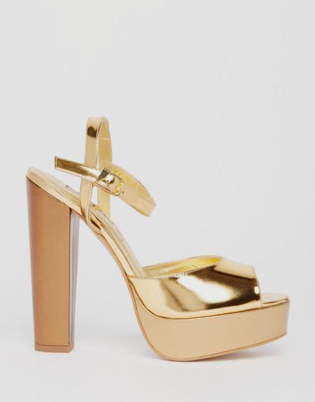 Terry De Havilland X Asos Coco Gold Glitter Platform Heeled Sandals 130 00