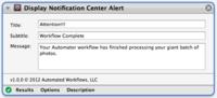 Añade esta acción a Automator para poder mostrar resultados en el Centro de Notificaciones