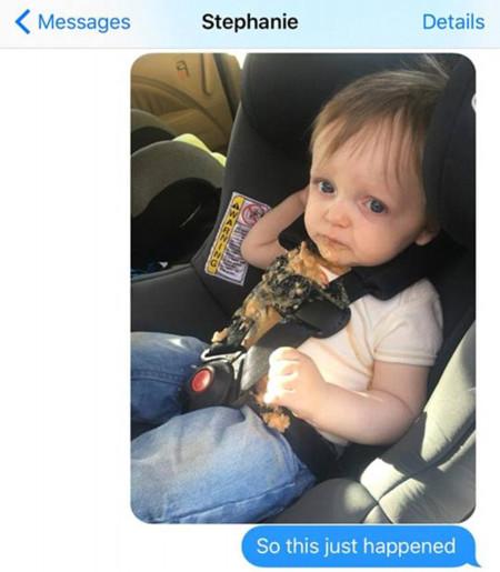 Cuando papá cuida del niño y todo sale mal: le vomita en el coche, él vomita por el olor y le acusan de conducir borracho