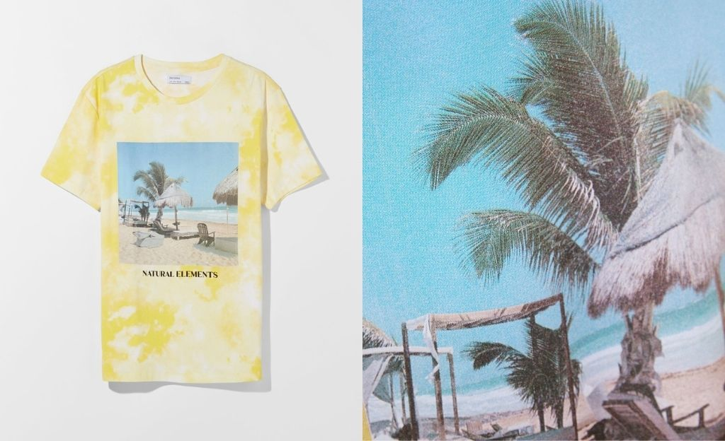 Camiseta efecto tie-dye print playa