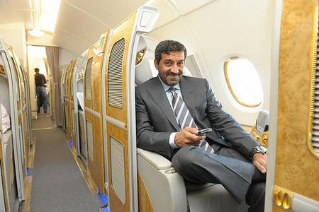 El interior del Emirates Airlines A380 con un pasajero de lujo