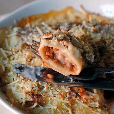 Canelones de atún, tomate y huevo, receta para compartir en familia