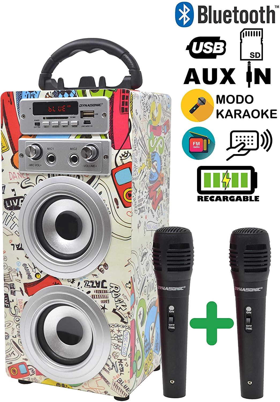 DYNASONIC - Altavoz Bluetooth Portatil Karaoke con Micrófonos Incluidos | Lector USB y SD, Radio FM Modelo 025 (2 Micrófonos)