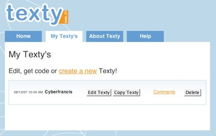 Texty, simple editor visual para sitios web