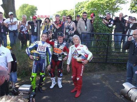 IOMTT 2009, John Mc Guinnes, Valentino Rossi y Giacomo Agostini