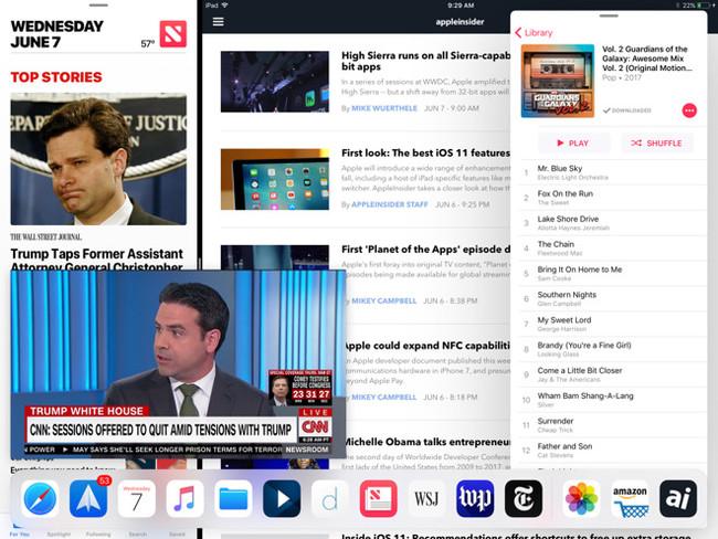 La monotarea será cosa del pasado: iOS 11 permitirá mostrar en él cuatro aplicaciones simultáneamente