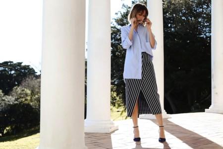 Chronicles Of Her Blue Boyfriend Shirt Stripe Asymmetric Skirt
