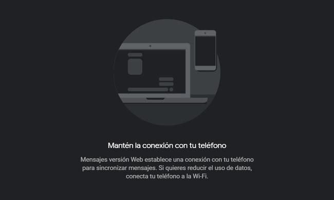 La versión web de Mensajes Android también recibe el modo oscuro, así se activa