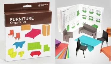 Muebles de origami en miniatura