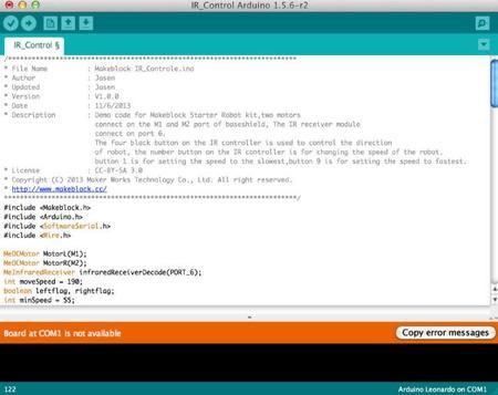 Código que vamos a compilar y a mandar a nuestro tanque de Makeblock