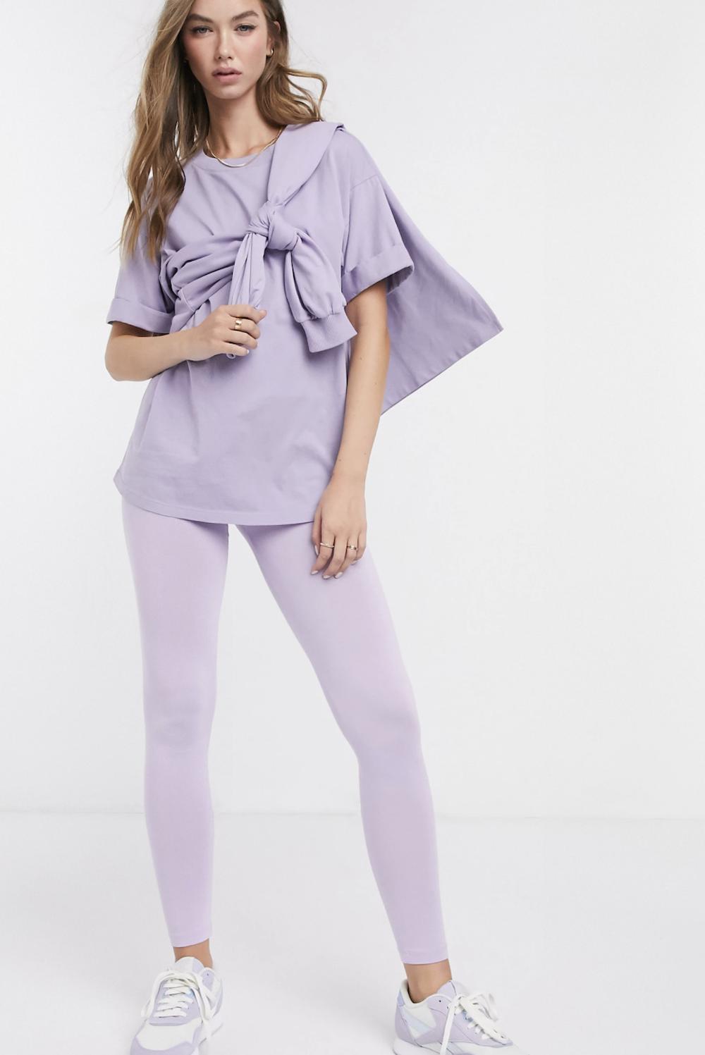 Leggings con cintura ancha en lila Mix & Match de ASOS DESIGN