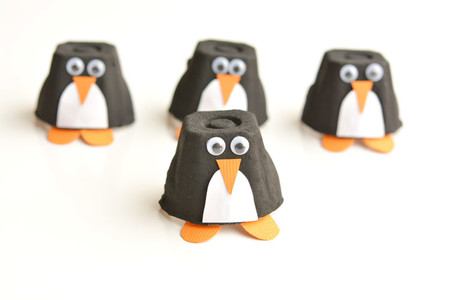 Manualidades Invierno Pinguinos Carton Huevo