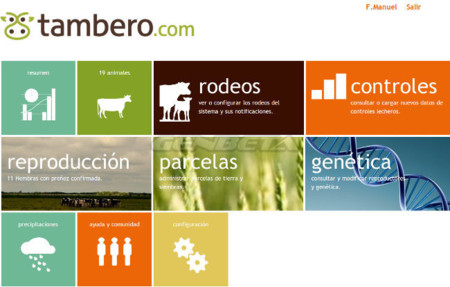 Pantalla de inicio de tambero.com para usuarios registrados