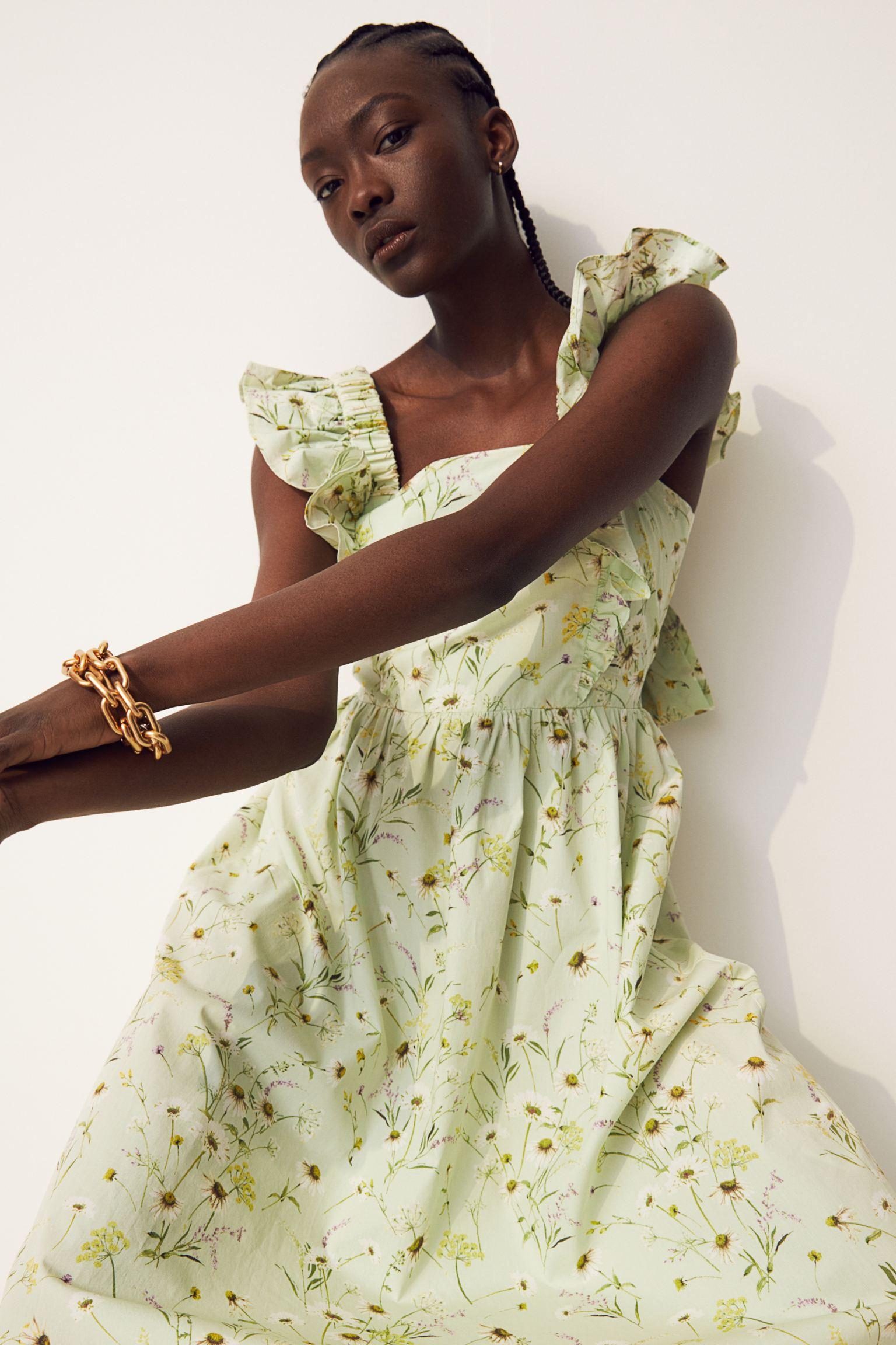 Vestido en popelina  de flores