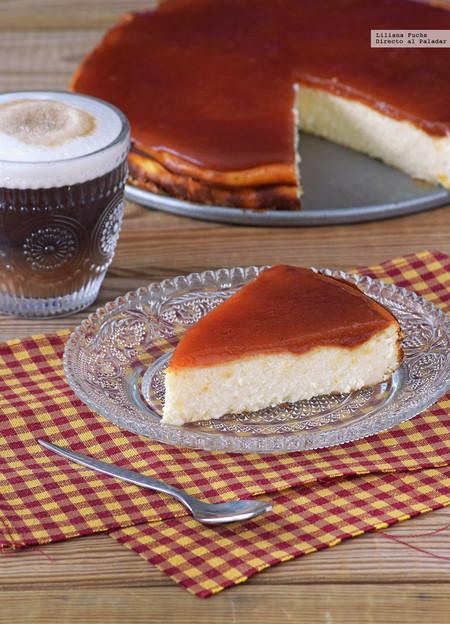 Tarta de queso con dulce de membrillo y pomelo