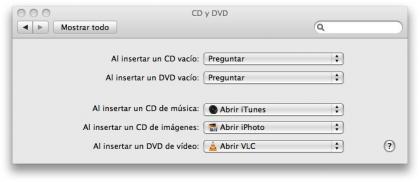 opciones de CD y DVD