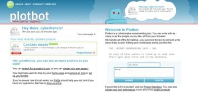 Plotbot, herramienta online de escritura de guiones de forma colaborativa