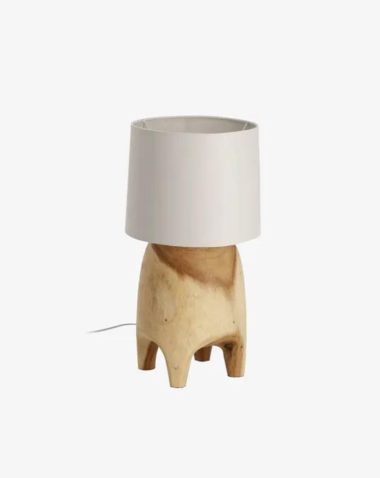 Lámpara de mesa Shifra de madera maciza de campano