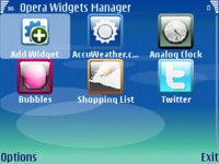 Opera Widgets Manager para Symbian S60