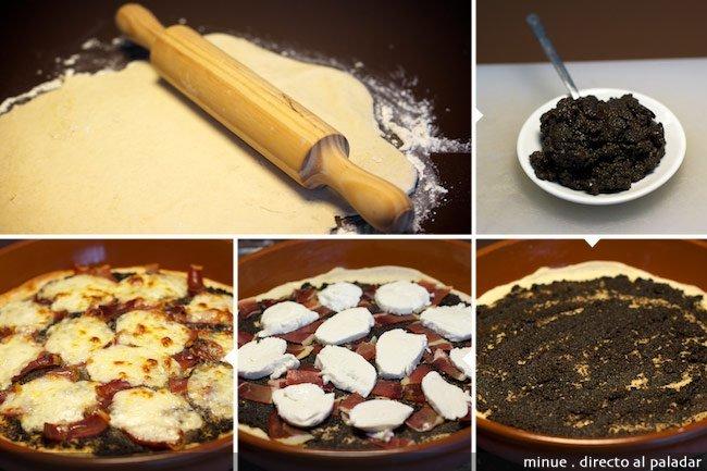 Pizza de jamón y aceitunas - elaboración