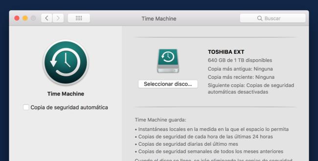 Preferencias Time Machine