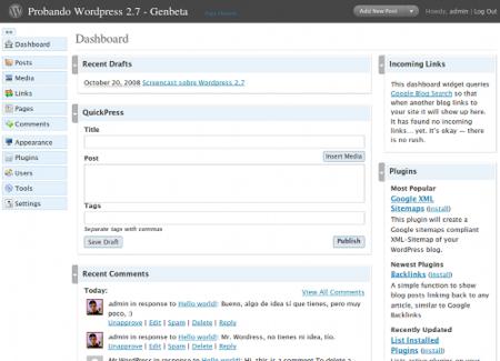 Dashboard - Wordpress 2.7