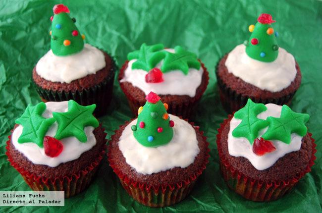 Cupcakes festivos de Navidad