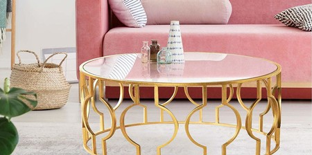 Mesa redonda, mesas de centro, mesa comedor cristal, mesas de cocina o mesa salon mueble con base de latón muy elegante y moderno, un regalo perfecto para ella