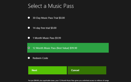 Precios Xbox Music