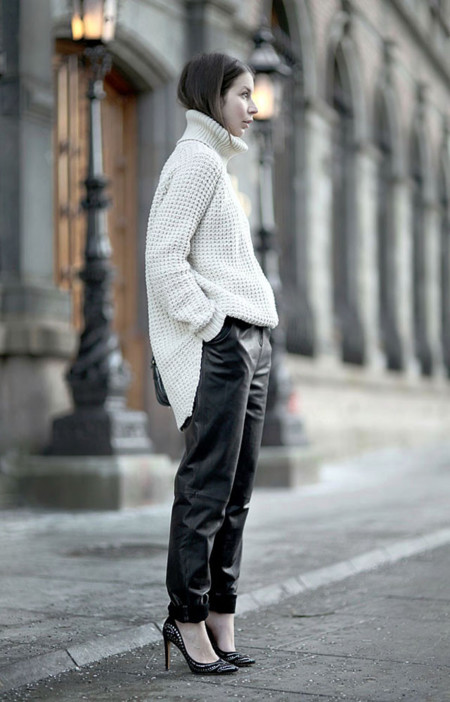 Pantalones de cuero holgados loose leather pants tendencias 2014 jersey cuello alto turtleneck