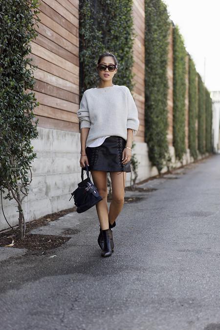 Como Combinar Falda Cuero Negra 04