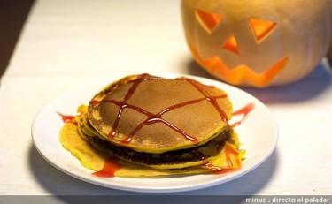 Pancakes o tortitas de calabaza. Receta de Halloween