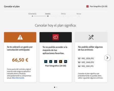 Captura de pantalla de la web de Adobe al cancelar la suscripción, donde pide el importe restante para completar el pago anual.
