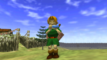 Miren a este jugador de Zelda: Ocarina of Time derrotar a un par monstruos con una ocarina de verdad