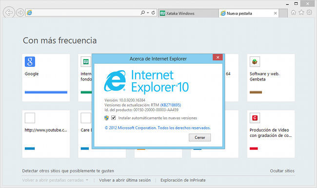 Internet Explorer 10, interfaz clásica
