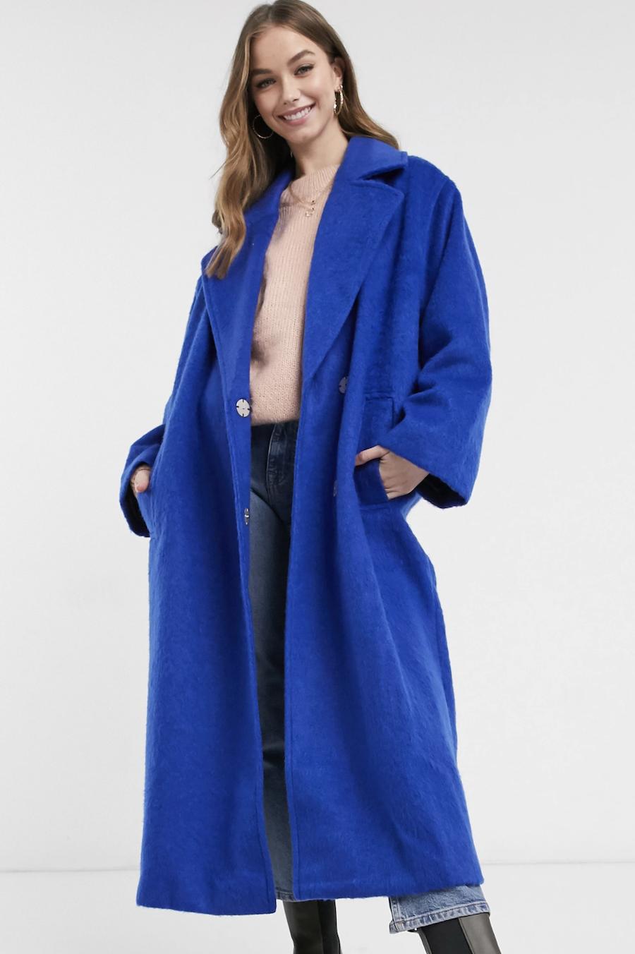 Abrigo azul cobalto holgado extragrande de ASOS DESIGN