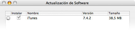 Actualización de software: iTunes 7.4.2