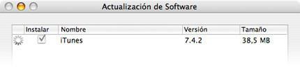 Actualización de software: iTunes 7.4.2