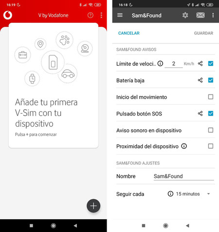 Las apps V by Vodafone y Trackisafe