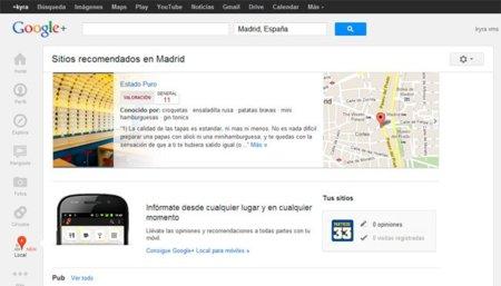 """Google+ añade la pestaña """"local"""" y da paso a las recomendaciones locales"""