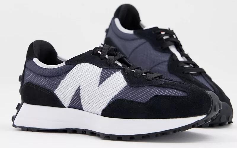 Zapatillas de deporte negras y azul marino 327 de New Balance